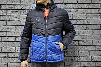 Двухцветная куртка Puma, черно-синяя