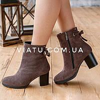 Женские зимние ботинки на среднем каблуке из натурального замша (бежевые)  Bellini 36-41 c9b8ffd0bfd
