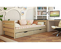 Кровать деревянная подростковая Нота Эстелла 80×200 Буковый щит 101 - Орех темный