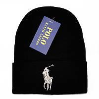 Новинка 2018 года мужская вязаная шапка Polo Ralph Lauren черная шерстяная трендовая стильная Поло реплика
