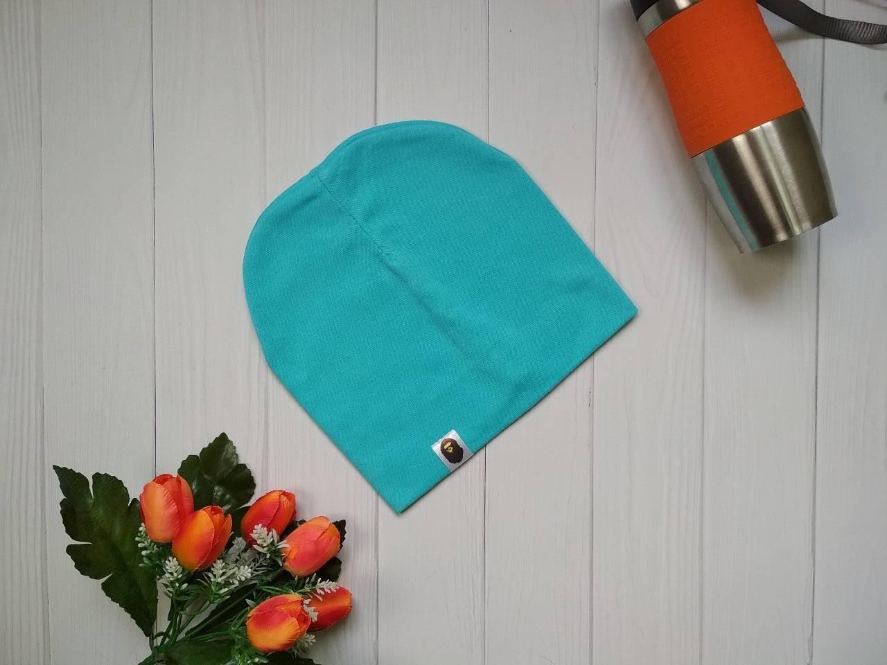 Модная деми шапка резинка на подростка Bape Kids цвет бирюзовый
