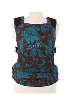 """Эргономичный рюкзак-переноска для детей """"ЕСО"""" Womar бирюзово - коричневый в цветы"""