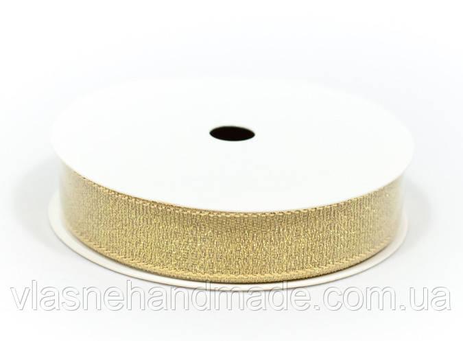Стрічка золотиста. 1,5 см. Polkadot. Ціна за 1 ярд