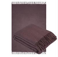 Плед из шерсти мериноса бордово-коричневый 130х180