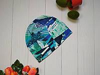 Детская трикотажная весенне-осенняя шапка с принтом