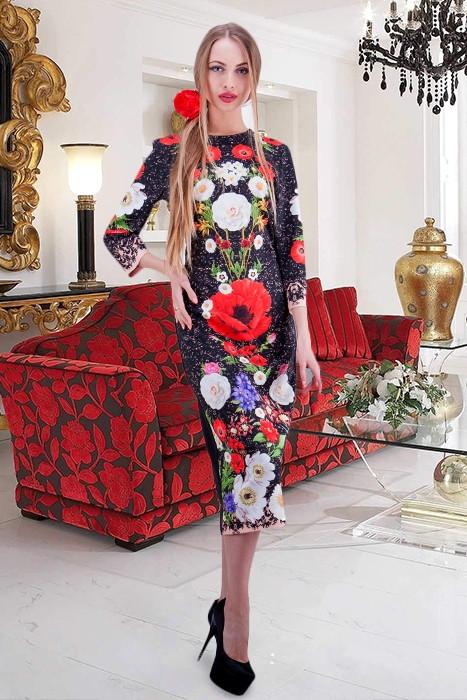 Красивое женское  платье в этно-стиле  Принт из коллекции Dolce&Gabbana. размеры 42-48