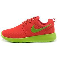 Женские кроссовки Nike Roshe Run красные с зеленым. Топ качество!!! р.(36)
