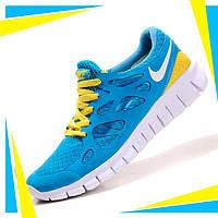 Кроссовки для бега Nike Free Run 2 Найк Фри Ран, синие с желтым