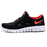 Мужские кроссовки женские кроссовки для бега Найк фри ран Nike Free Run 2 443815-014 черные с красным