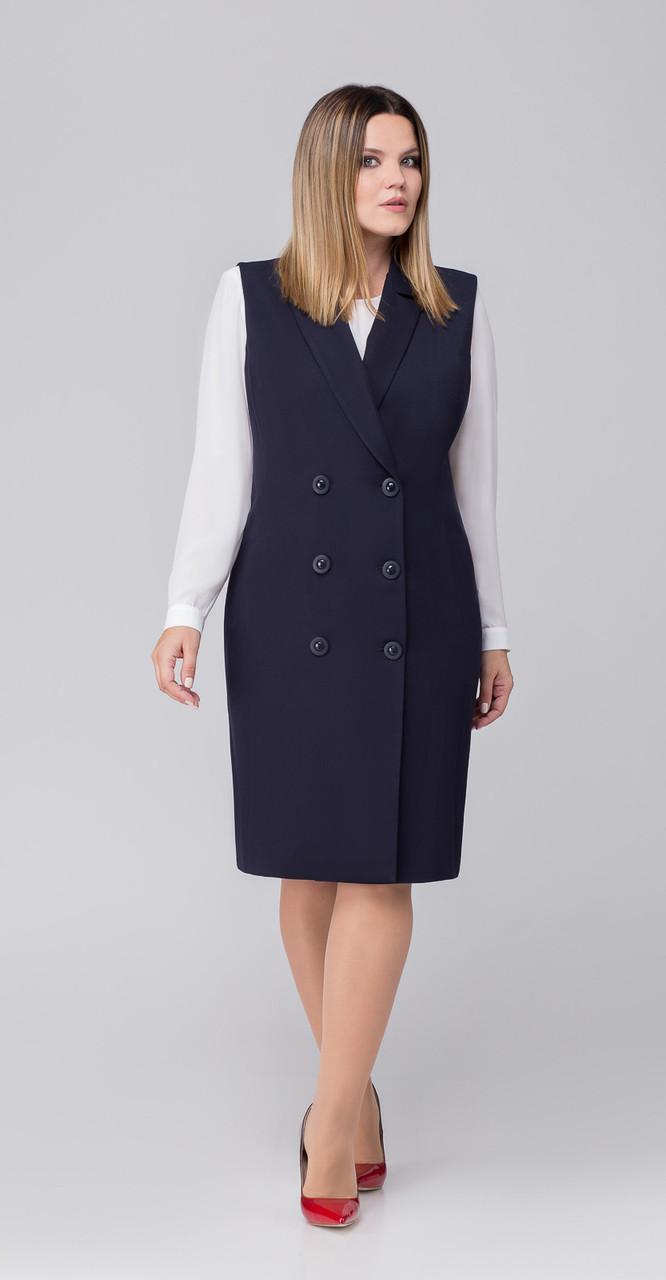 Платье Дали-3350 белорусский трикотаж, темно-синий, 48