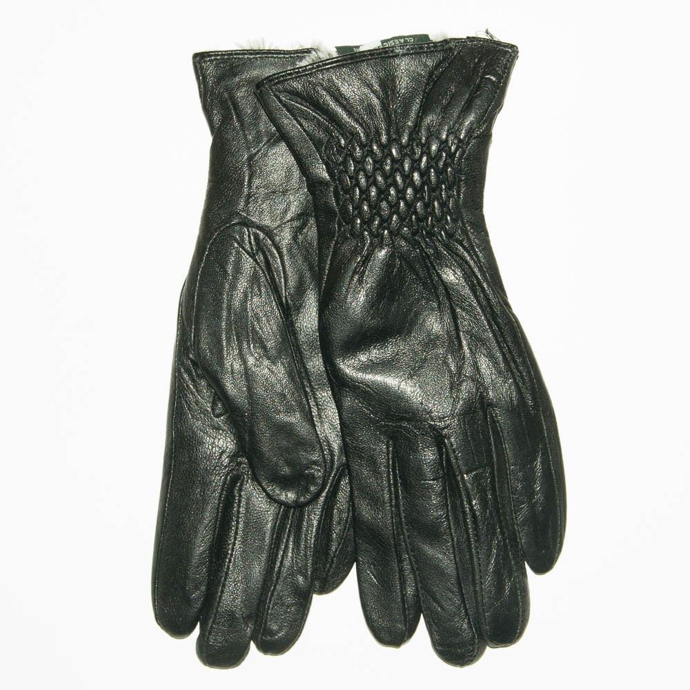 Женские кожаные зимние перчатки на меху кролика (мех искусственный) - F11-1