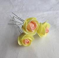 """Шпильки для волос ручной работы """"Розочки Желтый Персик"""""""