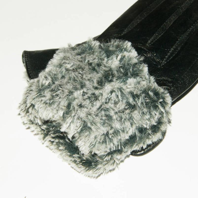 Оптом женские кожаные зимние перчатки на меху кролика (мех искусственный) - F11-6, фото 2
