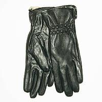 Оптом женские кожаные зимние перчатки на меху кролика (мех искусственный) - F11-6, фото 1