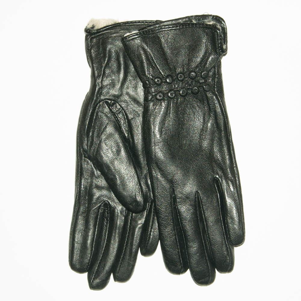 Женские кожаные зимние перчатки на меху кролика (мех искусственный) - F11-6