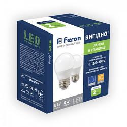 Feron LB-745 6W E27 4000K Светодиодная лампа 2шт/уп