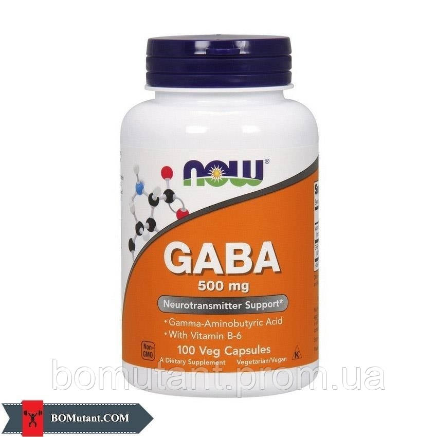 GABA 500 mg 100 капсул NOW