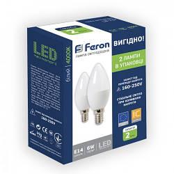 Feron LB-737 6W E14 4000KСветодиодная лампа 2шт/уп