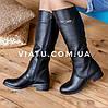 Женские кожаные сапоги на низком ходу. Bellini