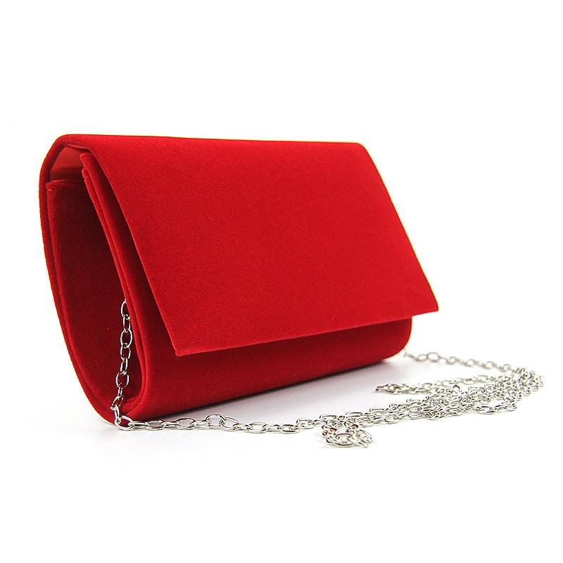 8ef9dbbc64ca Вечерний велюровый клатч rh-8728-1 red красный маленький на цепочке -  Интернет магазин