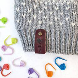 Кожаная бирка Handmade With Love, цвет Бордо