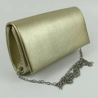 Золотистая сумка-клатч Rose Heart на цепочке вечерняя матовая цвет шампань, фото 1
