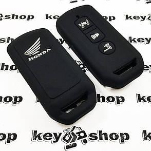 Чехол (черный, силиконовый) для мото ключа Honda (Хонда) 3 кнопки, фото 2