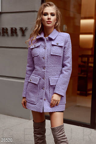 Яскраве фактурне жіноче коротке пальто бузковий розмір 44 46 48 ... edead326e5154