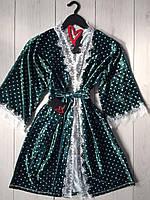 Изумрудный велюровый халат в горошек с белым кружевом, велюровые женские халаты.