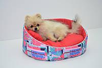 Лежак для собак і котів Акварель червоний, фото 1
