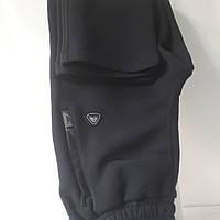 Тёплые зимние брюки Турция, Соккер, 3 - нитка, тёмно-синие,  прямые.