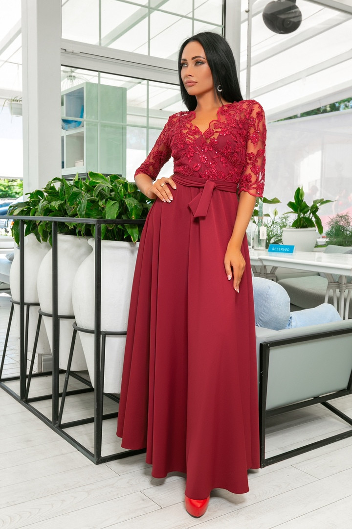 585071cce598 Женское длинное платье в пол. вечернее платье марсала. Бордовое вечернее  платье