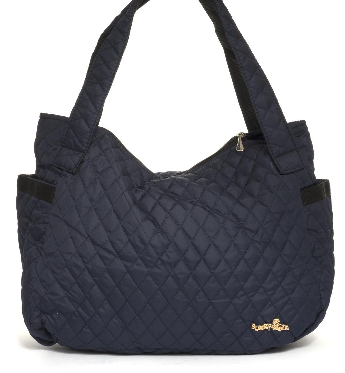 Спортивная вместительная женская стеганая сумка SUMKI MODA art. 29-2(103460) темно синяя