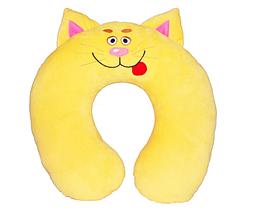Подушка валик на шею Кот Сонька желтый
