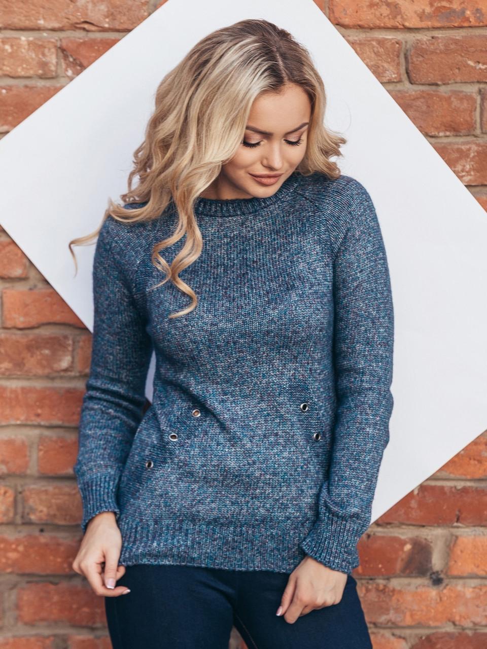 (S-L) В'язаний жіночий синій светр Holly