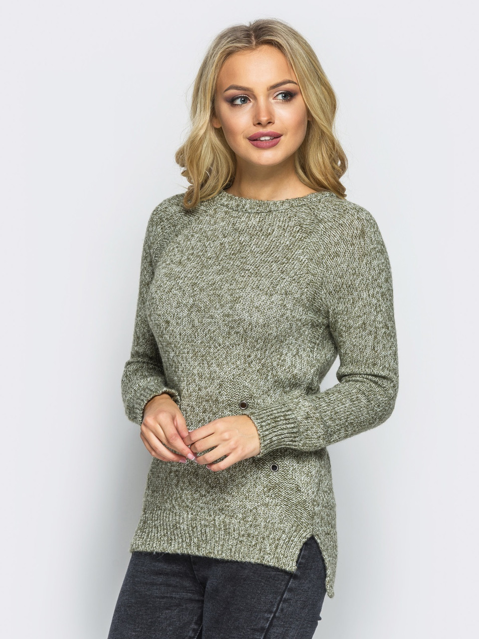 (S-L) В'язаний жіночий оливковий светр Holly