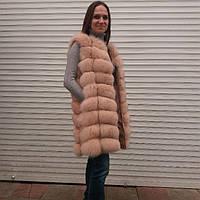 Стильная женская меховая жилетка из песца цельной шкуры Цвет нежно-розовый длина 90 см производство Турция