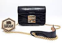 Женская мини сумочка из плотной кожи PU на цепочке, Черного цвета