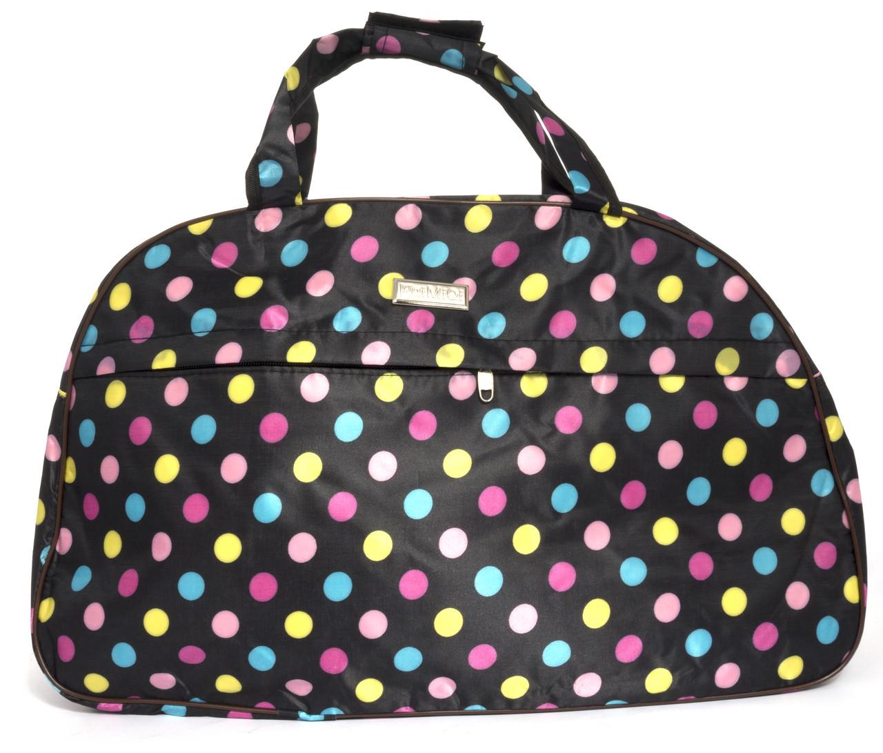 Стильна яскрава дорожня сумка саквояж art. 03-10 (103500) чорний з кольоровими кульками