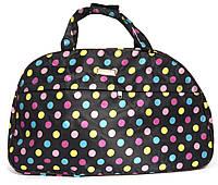 Стильна яскрава дорожня сумка саквояж art. 03-10 (103500) чорний з кольоровими кульками, фото 1