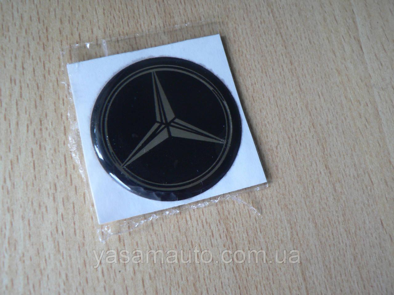 Наклейка s круглая Mercedes 40х40х1.7мм силиконовая эмблема логотип марка бренд в круге на авто Мерседес
