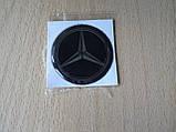 Наклейка s круглая Mercedes 40х40х1.7мм силиконовая эмблема логотип марка бренд в круге на авто Мерседес, фото 2