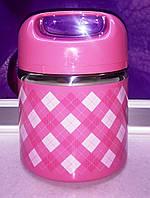 Ланч бокс одноярусный пищевой нержавеющая сталь розовый А-плюс, фото 1