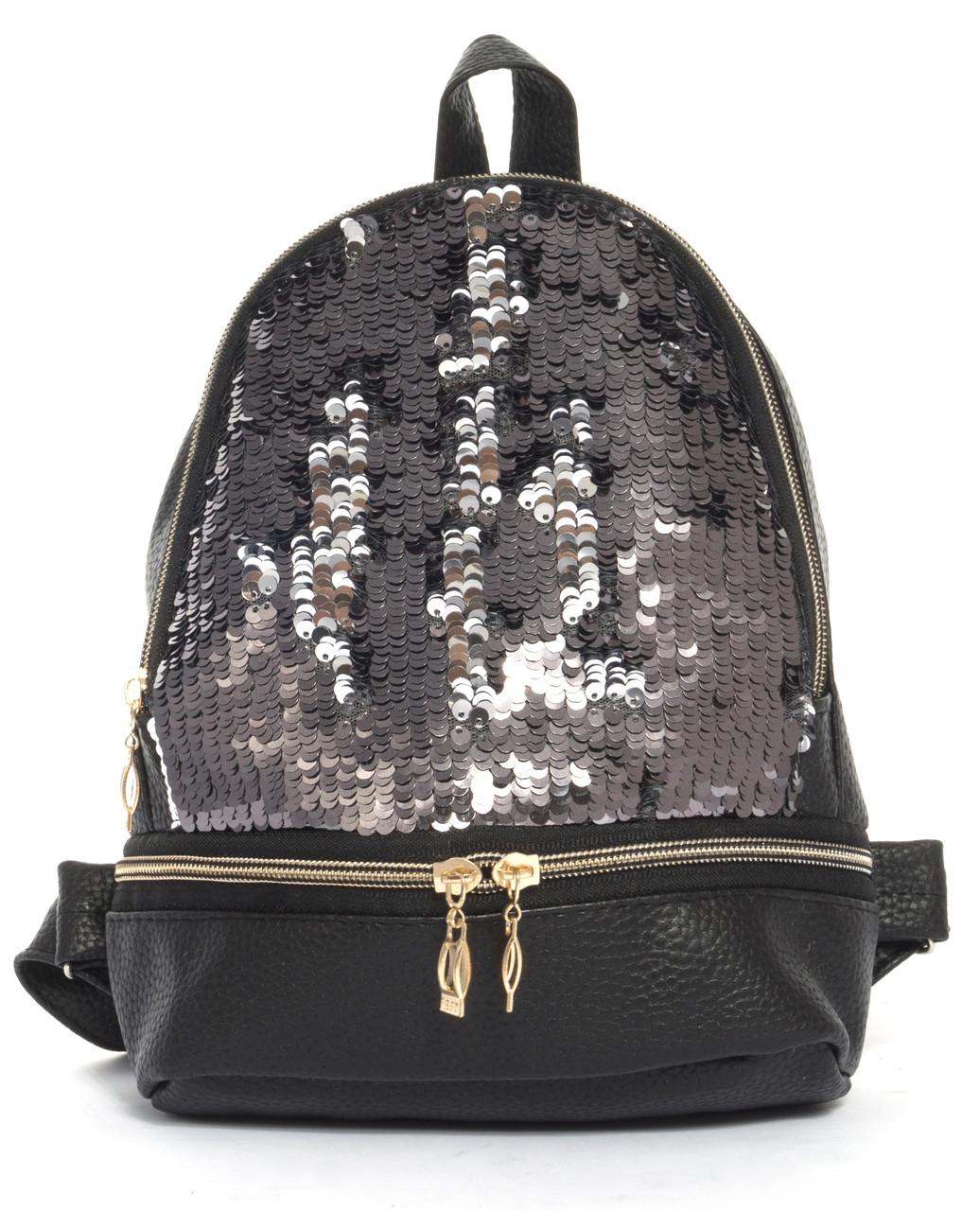 bce8391016ad Стильный маленький женский рюкзачок с блестящими паетками art. 31 (103463)  черный/серебро