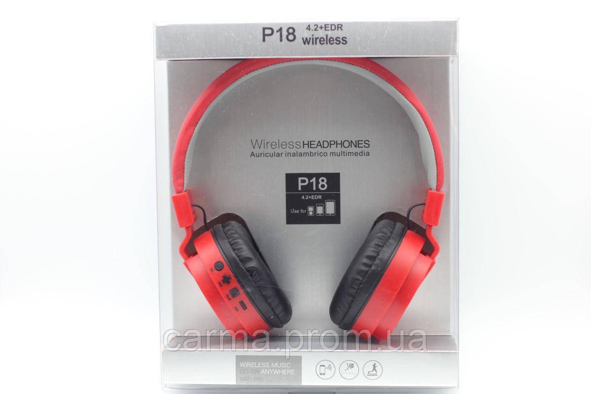 Беспроводные наушники P18, красный