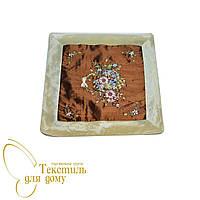Наволочка декоративная с  вышивкой, коричневый