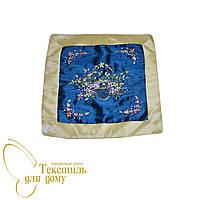 Наволочка декоративная с  вышивкой, синий