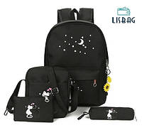 Школьный милый набор 4в1 для повседневного использования Черного цвета с котами