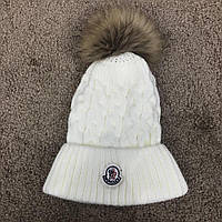 Moncler Winter Hat Knitted Pompon Milky