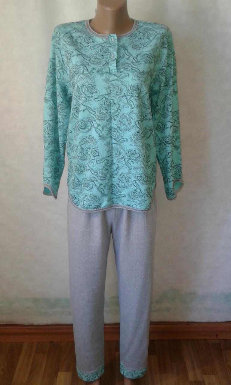 Пижамы женские теплые на байке, 100% хлопок.Размер 44,46. От 4шт по 160грн